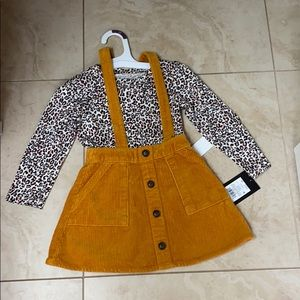 2T two pc corduroy skirt with leopard shirt
